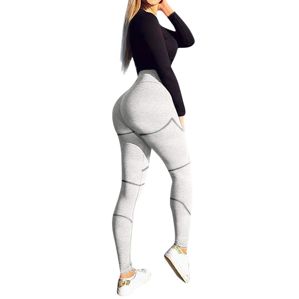 Women's High Waist Yoga Pants Butt Lifting Tummy Control Slimming Booty Leggings Workout Running Leggings Tights White