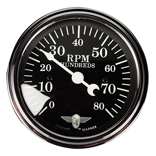 (Stewart Warner 82660 Wings Black Face 8000 RPM Tachometer)