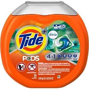 Tide Pods Plus Febreze Botanical Rain Laundry Detergent Pacs 54 count WLM