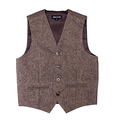 Born to Love - Vest for Baby Toddler Kids Ring Bearer Pageboy Wedding Formal Herringbone Outfit (Tan and Brown, 6 Years)