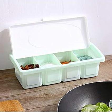842b2670fa1 Amazon.com  MaxFox 4 Grid Seasoning Box,Multi-Function Plastic Rack ...