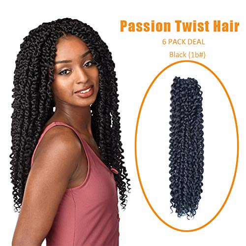 Passion Twist Hair(18 Inch 6-Packs) Passion Twist Crochet Hair,Water Wave Crochet Hair For Black Women Crochet Passion Twist Hair Braiding hair- Black