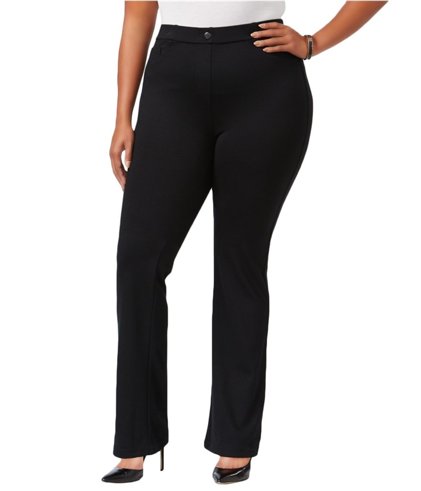 Style & Co. Womens Plus Petite Boot Cut Pull-On Pants Black 22W