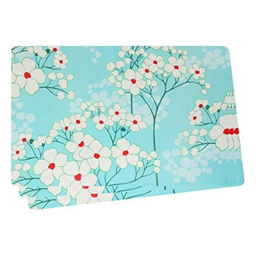 eDealMax Motif Fleur Tableau Coupe Mat napperons Coaster 43x28cm 3pcs Bleu clair