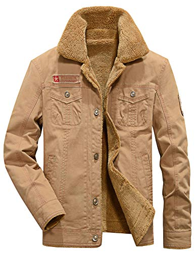 Vcansion Men's Winter Cotton Fleece Windproof Jacket Wool Outerwear Single Breasted Classic Military Style Jacket Coats Khaki M