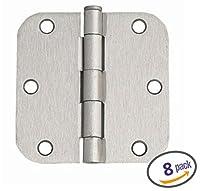 "Dynasty Hardware 3-1/2"" Door Hinges 5/8"" Radius Corner, Satin Nickel, 8 - Pack"