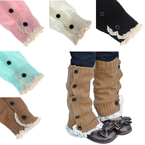 Baby Kids Toddlers Girls Crochet Knitted Lace Boot Cuffs Toppers Leg Warmer Socks (Set of 5 Pairs)