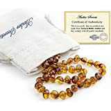 Baltic Amber Teething Necklace For Babies (Unisex) - Color Cognac - Natural Certificated Oval Baltic Jewelry with the Highest Quality Guaranteed - Easy to Fastens, Screw Clasp - Packed in Linen Bag