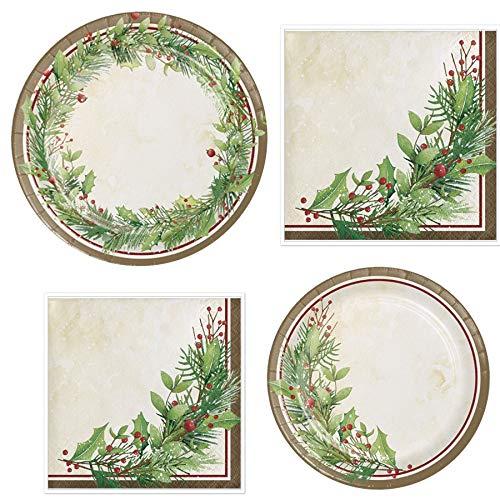 Christmas-Themed Wreath Party Bundle Serves 16 : Dinner Plates + Dessert Plates + 16 Lunch Napkins + Beverage Napkins (Plate Olive Dinner Green)