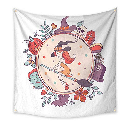 Tapestry Beach Happy Halloween Vector Illustration Hand Drawn Greeting Card Invitation for a Halloween Party Living Room Bedroom Dorm Decor 47W x 47L Inch -