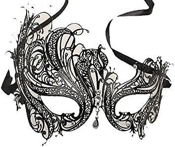Máscara veneciana negro / blanco para mujer - Perfecto para ...