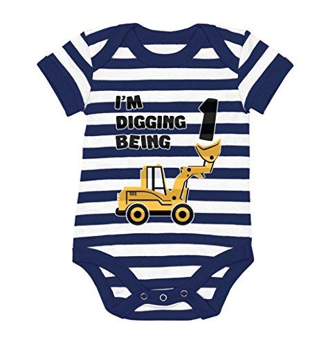 Tstars 1st Birthday Bulldozer Construction Infant Boy Baby Bodysuit 12M Navy/White]()