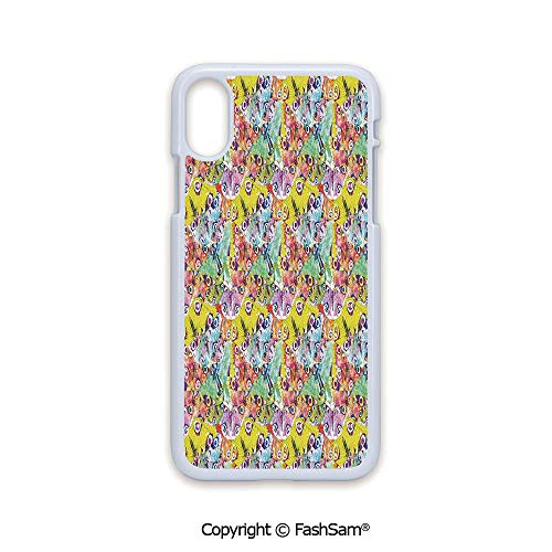 Fashion Printed Phone Case Compatible with iPhone X Black Edge Colorful an Assortment of Different Patterns Abstract Animal Image 2D Print Hard Plastic Phone Case