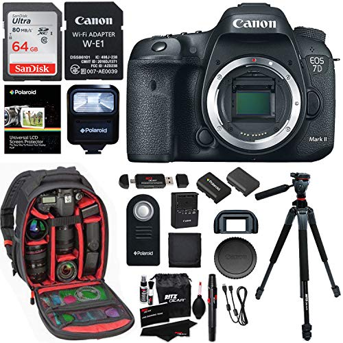 Canon EOS 7D Mark II Digital SLR Camera Body, Sandisk 32GB Card, Wi-Fi Adapter, Ritz Gear Camera Backpack, Polaroid Flash, and Accessory Bundle