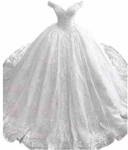 bebc0de54906 Modeldress Women's Off The Shoulder Long Lace Ball Gown Wedding Dresses for  Bride