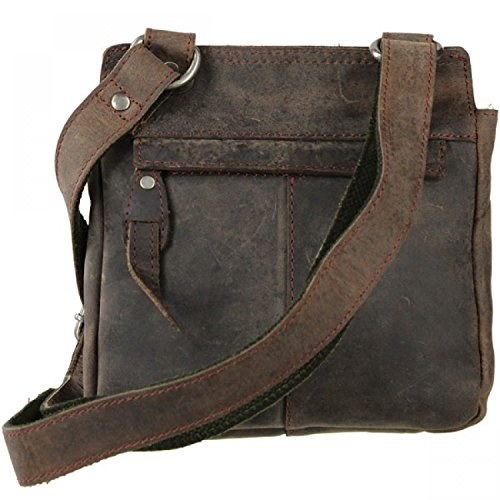 Greenburry Vintage Revival bisaccia a tracolla pelle 21 cm charcoal