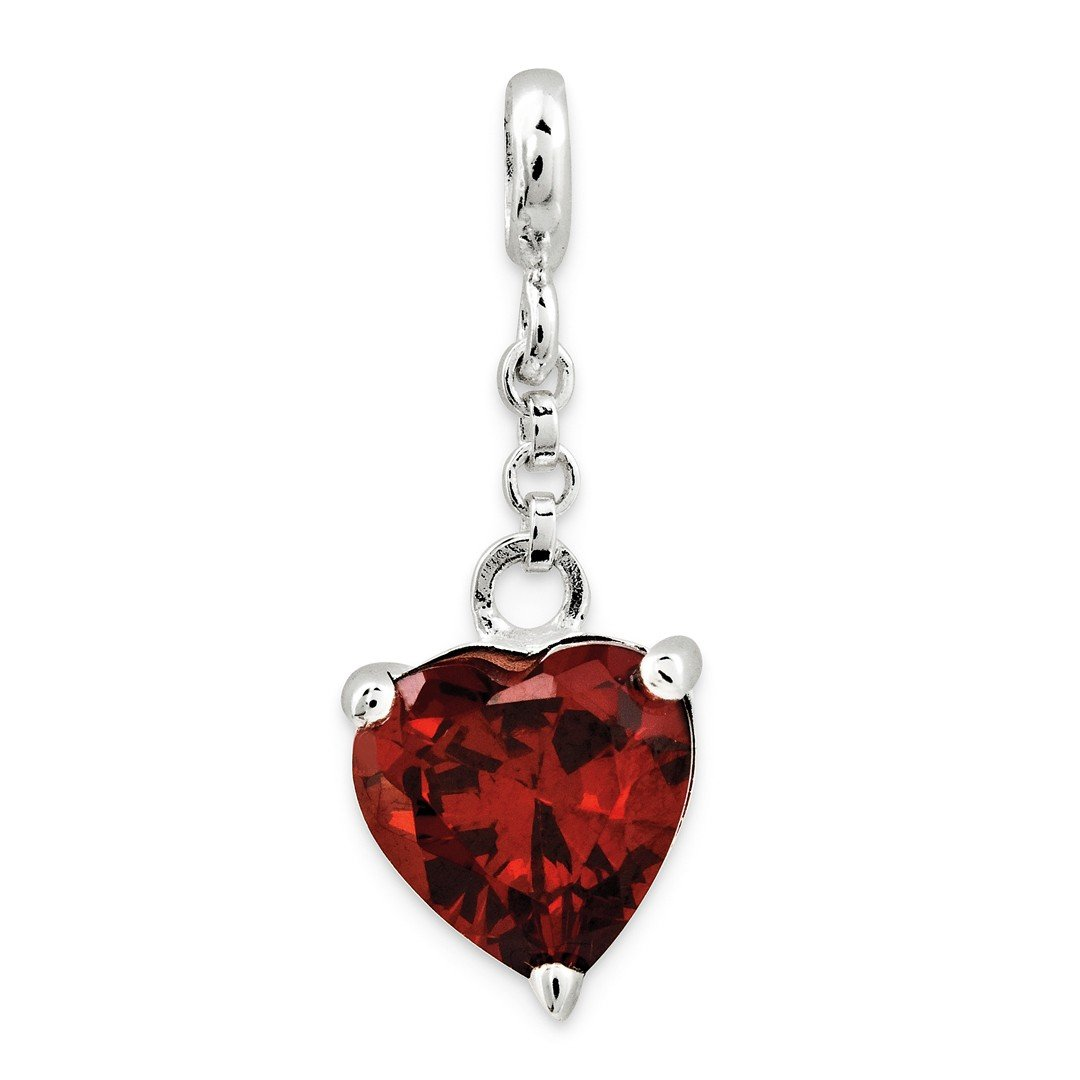 ICE CARATS 925 Sterling Silver Dark Red Cubic Zirconia Cz Heart 1/2in Dangle Enhancer Necklace Pendant Charm Love Fine Jewelry Ideal Gifts For Women Gift Set From Heart