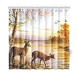 InterestPrint Rustic Animal World Wildlife River Edge Deers Polyester Fabric Shower Curtain Bathroom