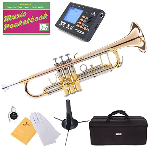 Mendini Double Braced B-Flat Trumpet, Rose Brass and Tuner, Case, Stand, Pocketbook - MTT-40+SD+PB+92D Mendini by Cecilio