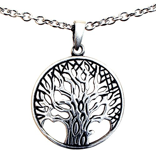 - OhDeal4U Tree of life Pagan Celtic Yggdrasil Bonsai pewter pendant Stainless Steel Chain Necklace (#09)