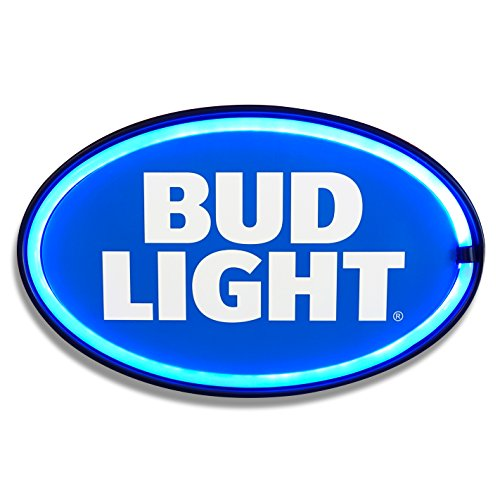 Bud Light  - Reproduction Advertising Oval Sign - Battery Powered LED Neon Style Light - 16 x 11 x 2 - Authentic Sign Neon