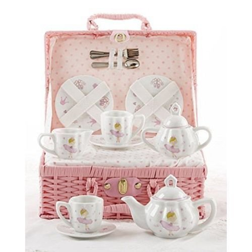 Porcelain Tea Set in Basket, Pink Bella Ballerina