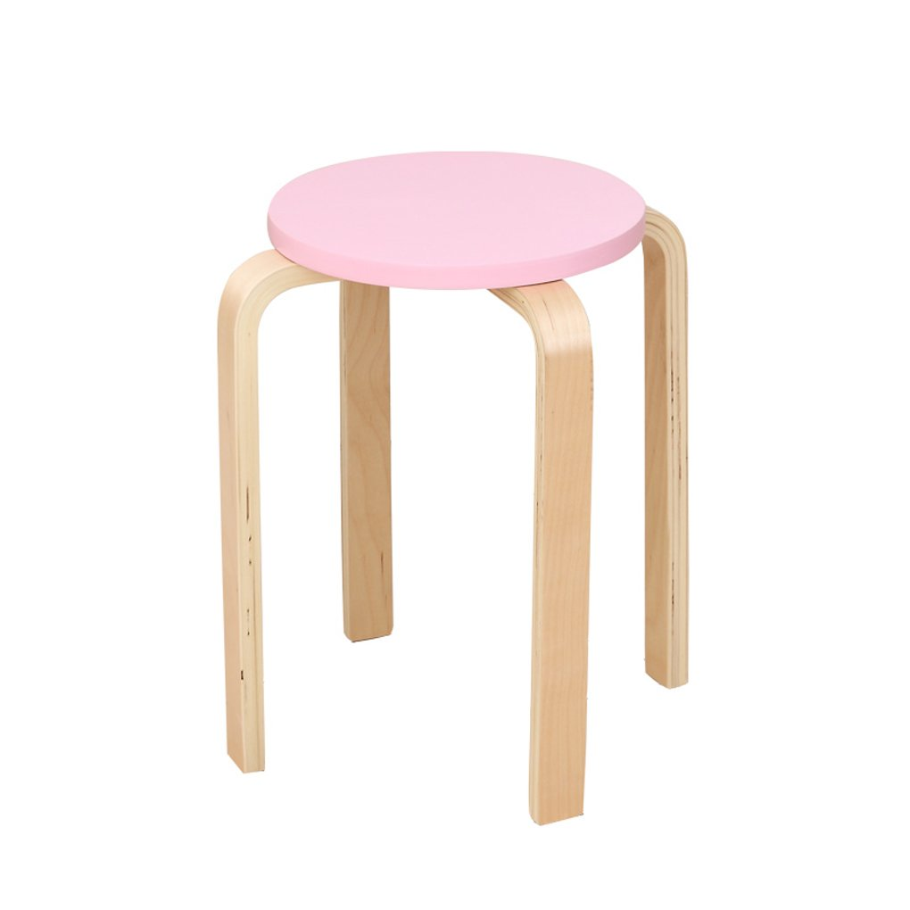 Solid Wood Stool Fashion Creative Stool Meal Stool Chair Simple Table Stool Wooden Stool Small Bench Low Stool (Color : Pink)
