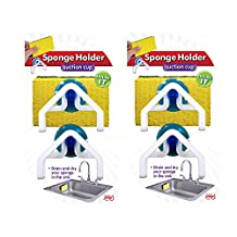 Sponge Holder (4 Pack) - Suction Cup Grips Sink, Gadget & Organizer Allows Water Draining from Dish Sponges or Scrubbers into Kitchen Sinks, Best Drying Rack, Plastic Rust Proof Caddy for Sponges