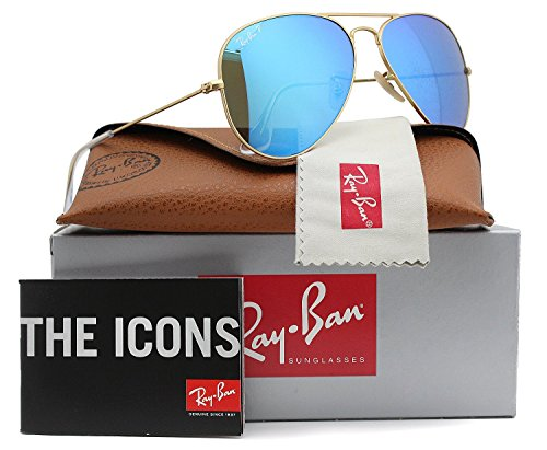 Ray-Ban RB3025 Aviator Polarized Sunglasses Matte Gold w/Blue Mirror (112/4L) 3025 58mm - Authentic Ban 3025 Aviator Ray Mirror Sunglass Matte Gold