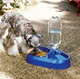 Dosckocil (Petmate) DDS24036 Plastic Combo Dog Feeder and Waterer with Stainless Steel Bowl, My Pet Supplies