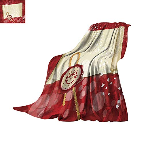 (RenteriaDecor Fleece Blanket Throw Digital Printing WarmNew Year s Scroll with The Wax Seal of Santa Throw Blanket 80