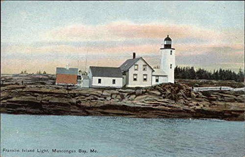 Muscongus Bay Maine (Franklin Island Light Muscongus Bay, Maine Original Vintage Postcard)