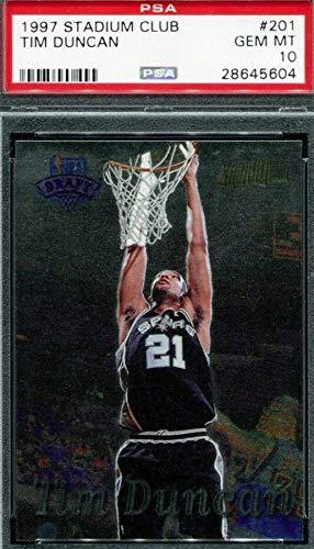 1997-98 Topps Stadium Club - Tim Duncan - San Antonio Spurs NBA Basketball Rookie Card - GRADED PSA 10 GEM MINT - RC Card #201
