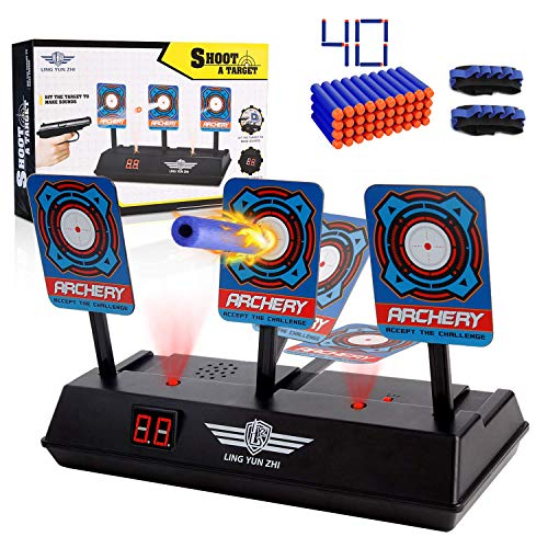Electronic Gun - WE-Direct Electronic Digital Target for Nerf Guns N-Strike Elite/Mega/Rival Series - Auto-Reset Intelligent Light Sound Effect Scoring Targets with 40 Pcs Refill Darts and 2 Hand Wrist Bands