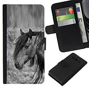 KingStore / Leather Etui en cuir / Samsung Galaxy A3 / Mane Gris Noir animal