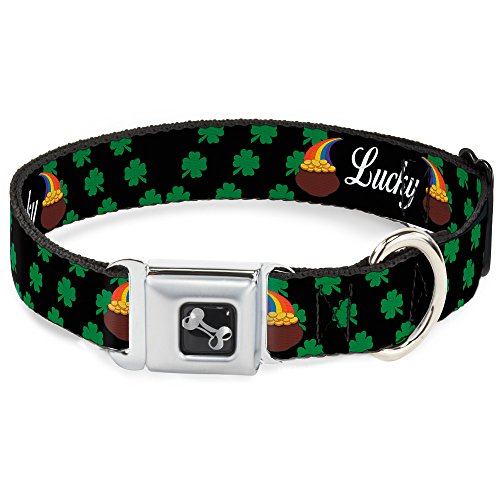 (Dog Collar Seatbelt Buckle St Pats Lucky Pot of Gold Shamrocks Scattered Black 15 to 26 Inches 1.0 Inch)