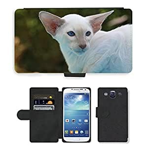 Super Stella Cell Phone Card Slot PU Leather Wallet Case // M00147135 Cat Kitten Siamese Cat Fur Charming // Samsung Galaxy S3 S III SIII i9300