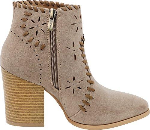 Block Imsu Heel Chunky Laser Whipstitch Bootie Ankle Cutout Bone Women's Closed Woven Select Toe Stacked Cambridge qx1ZAwv