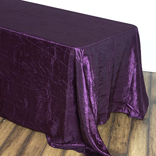 BalsaCircle 90x156-Inch Eggplant Purple Rectangle Crinkled Taffeta Tablecloth Table Cover Linens for Wedding Party Dining -