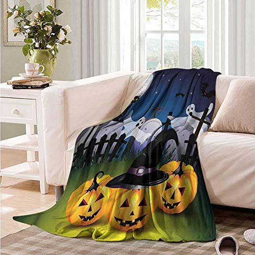 Oncegod Super Soft Blanket Halloween Pumpkins Witches Hat Moon Recliner Throw,Couch Throw, Couch wrap 84