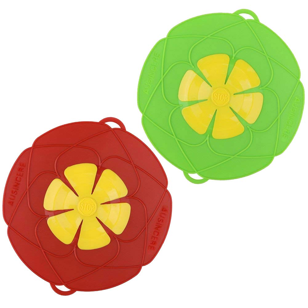 2 X Silicone Pot Lid Cover, Boil Over Safeguard/Spill stopper- Lid,Multi-function Kitchen Tool (Green and Red) AuSin