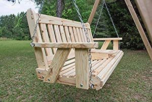 Portable Cup Holder ROLLED seating Amish Heavy Duty 800 Lb 5ft. Porch Swing - Made in USA from Ecommersify Inc