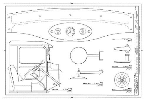 (historic pictoric Structural Drawing Cab Section, Dash, Hub Cap, Door Handle - 1932 Ford Model B Pick-Up, Greenwood, Sebastian County, AR 66in x 44in)