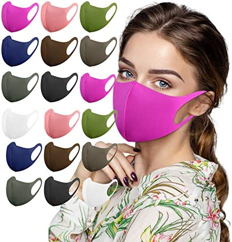 【USA in Stock 】 18 Pack Adults Winter Thicker Solid Color Face Masks, Women Men Fashion Air Mask,Outdoor Face Covering Reusable Washable Face Fabric