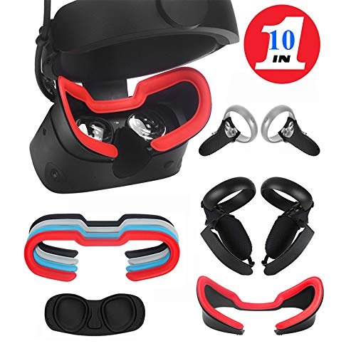 MASiKEN Face Cushion Leather & Touch Controller Silicone Grip Covers & Knuckle Straps & Facial Interface & Lens Dust…