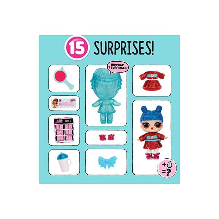51hp3zkuIYL L.O.L. ¡Sorpresa! Eye Spy serie bajo envolturas incluye 15 sorpresas. Encuentra las pistas sorpresas con el cristal espía. Alimentar o bañar muñeca para descubrir sorpresas de agua.