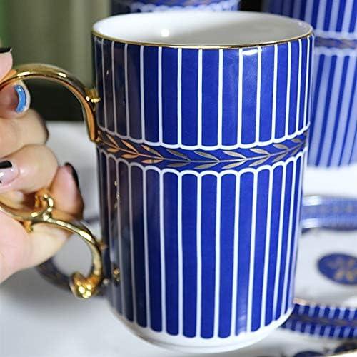 FXin バスルームアクセサリー、6つの家庭用トイレタリー、マウスウォッシュ、歯ブラシホルダー、石鹸皿液体ボトル、家の装飾の装飾に適した青いセラミックバスルームセット シャワー室