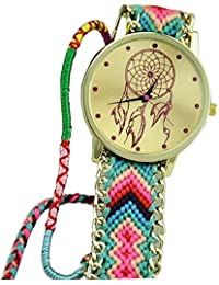 Fashion Womens Dreamcatcher Braid Bracelet Watches (Green+Pink)