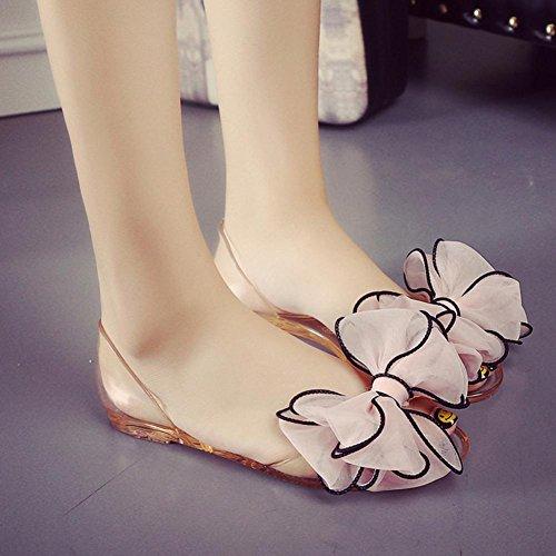 Crystal sandalias de la jalea cabeza de pescado plano con sandalias planas de los zapatos de los estudiantes flores Pink