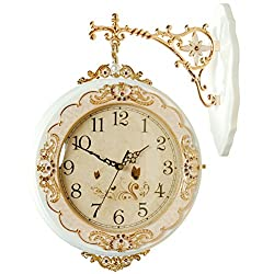 Hense Indoor/Outdoor 12 European Classical Antique Design Ultra Quiet Quartz Wooden Double Sides Clock HDS21 (White)